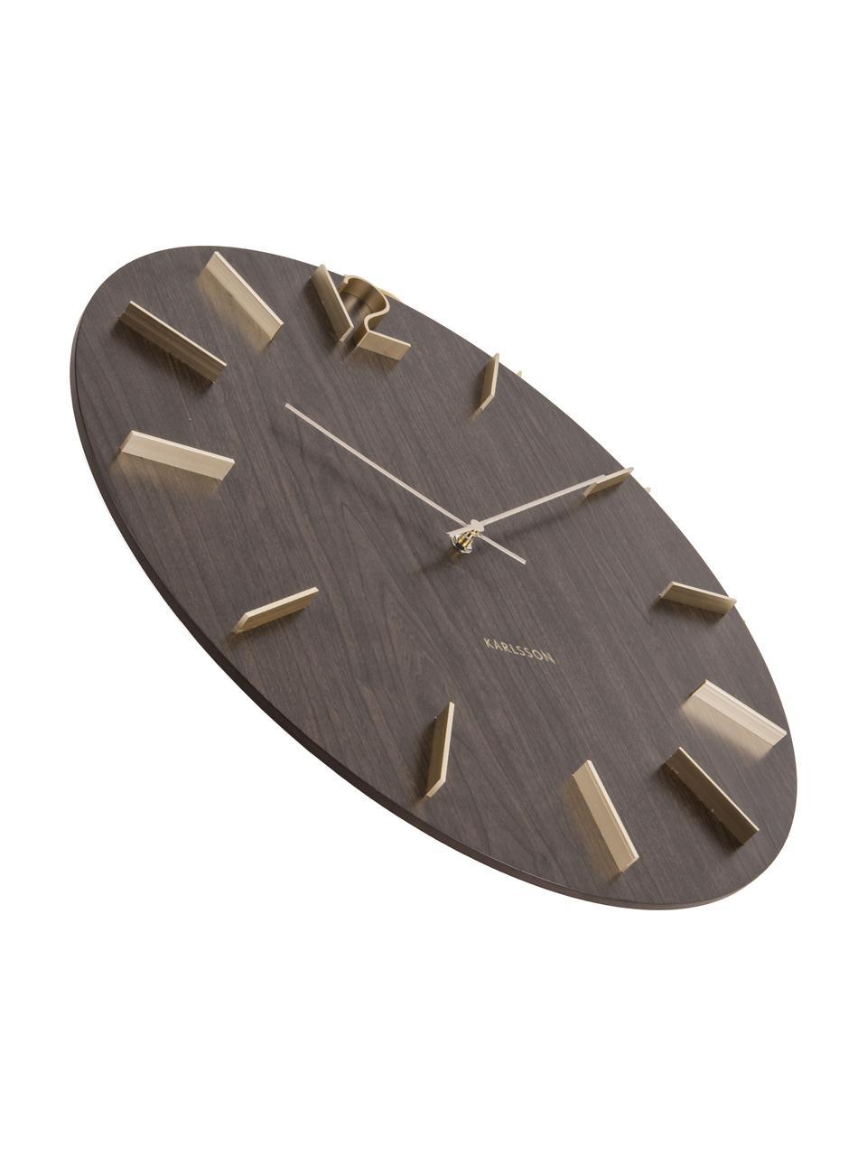 XL Wanduhr Meek, Ziffernblatt: Mitteldichte Holzfaserpla, Zeiger: Aluminium, beschichtet, Dunkelbraun, Goldfarben, Ø 50 cm