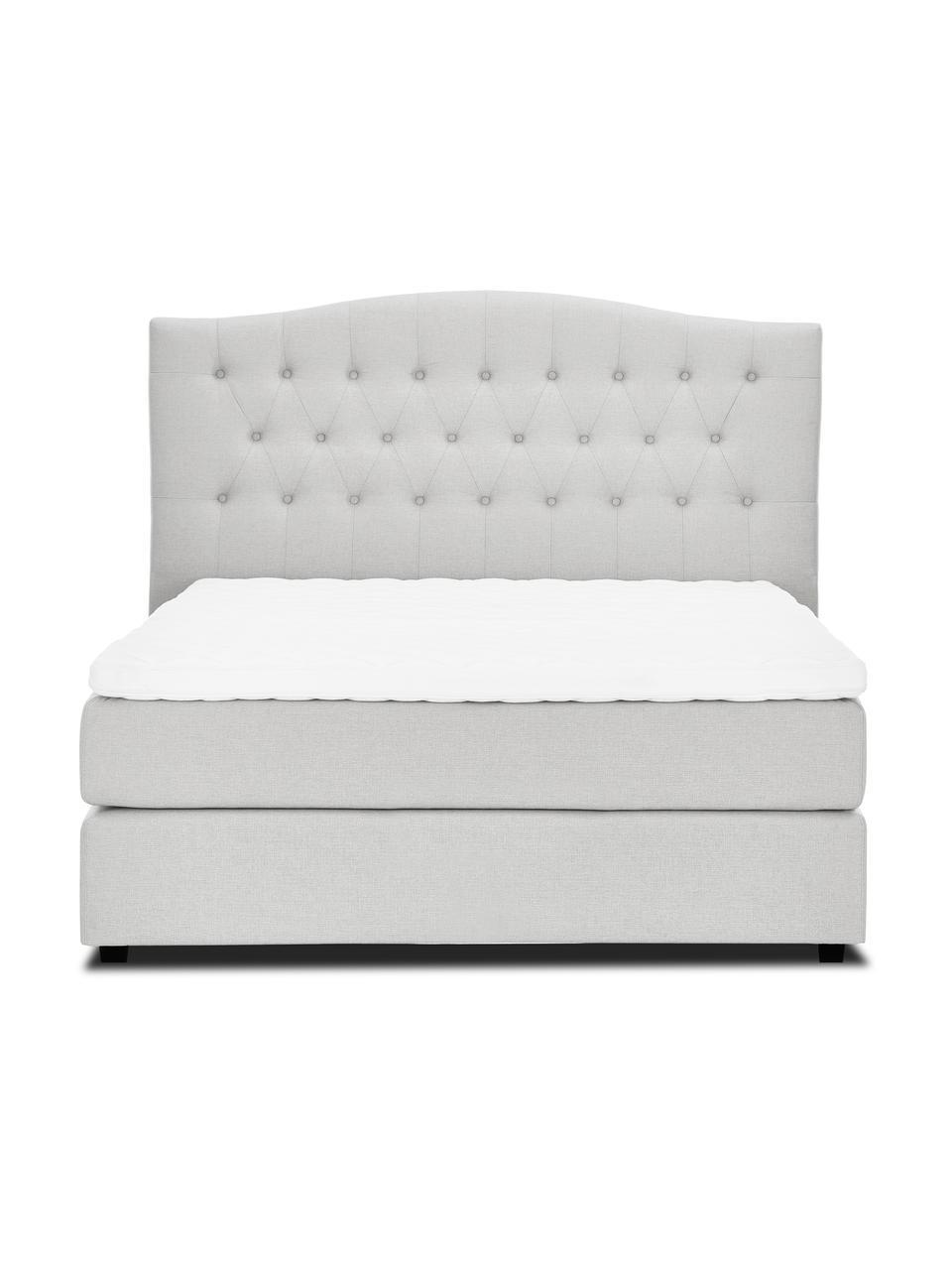 Premium Boxspringbett Royal in Weiß-Grau, Matratze: 5-Zonen-Taschenfederkern, Füße: Massives Birkenholz, lack, Stoff Helles Weiß-Grau, 200 x 200 cm