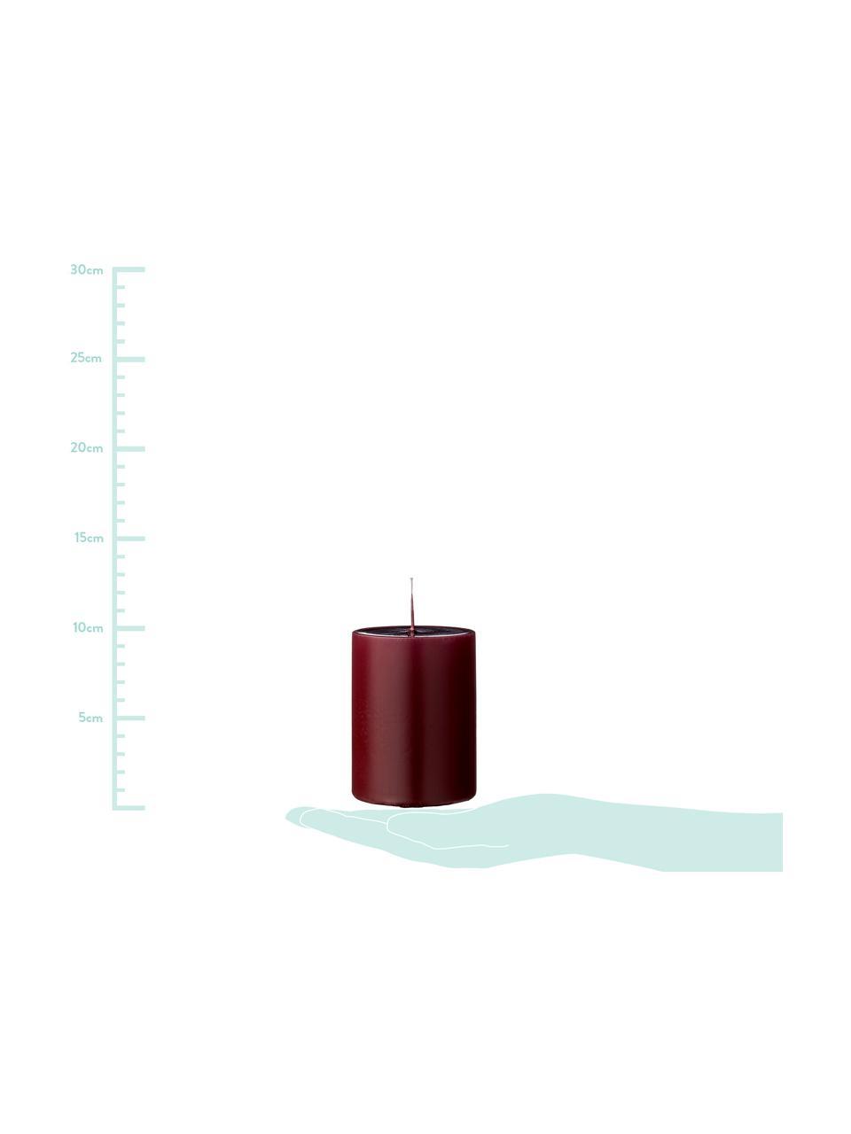 Stumpenkerzen Lulu, 4 Stück, Wachs, Weinrot, Ø 7 x H 10 cm