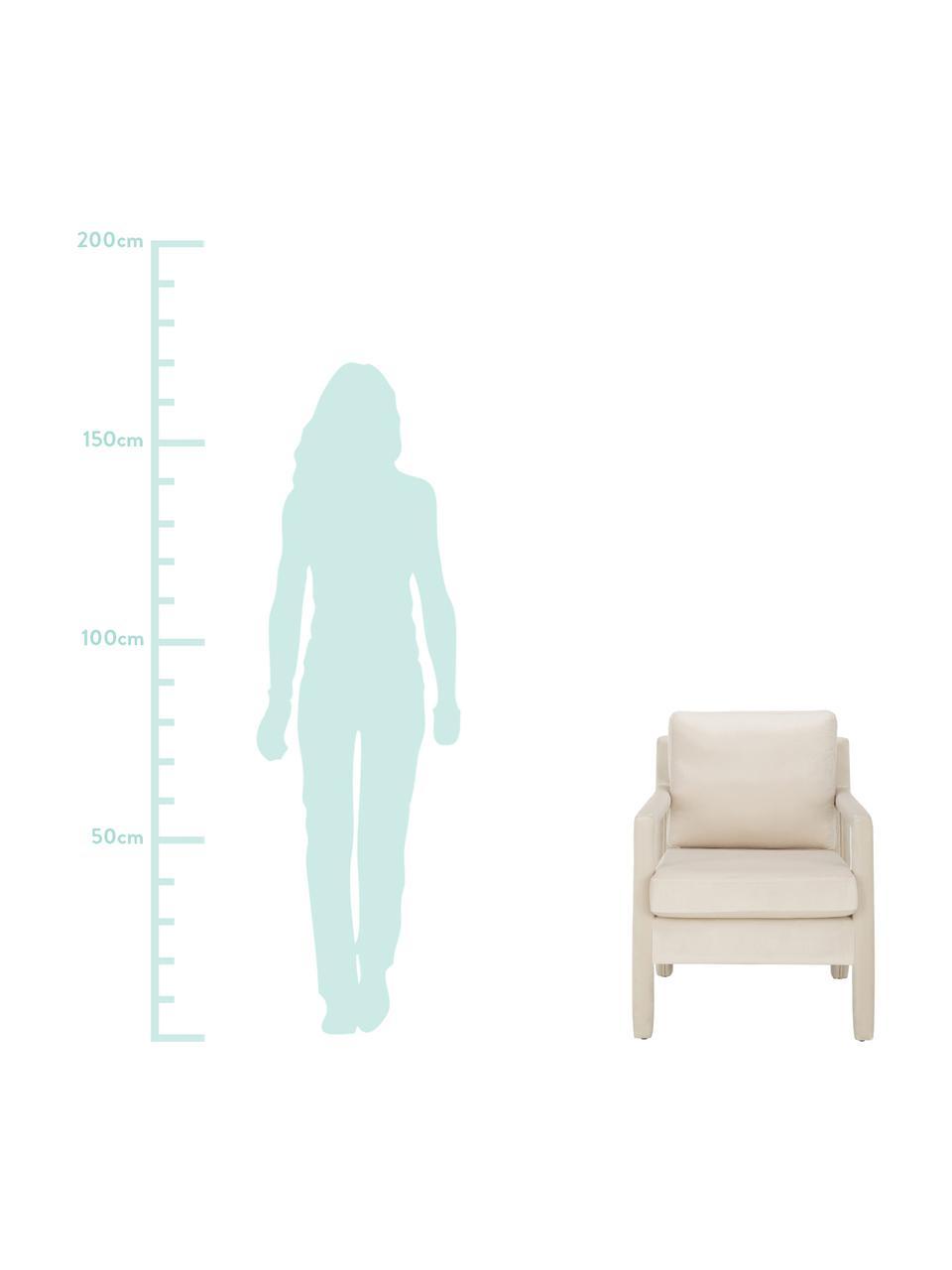 Fotel z aksamitu Claudette, Tapicerka: aksamit (100% poliester) , Stelaż: lite drewno sosnowe, skle, Beżowy, S 65 x G 75 cm