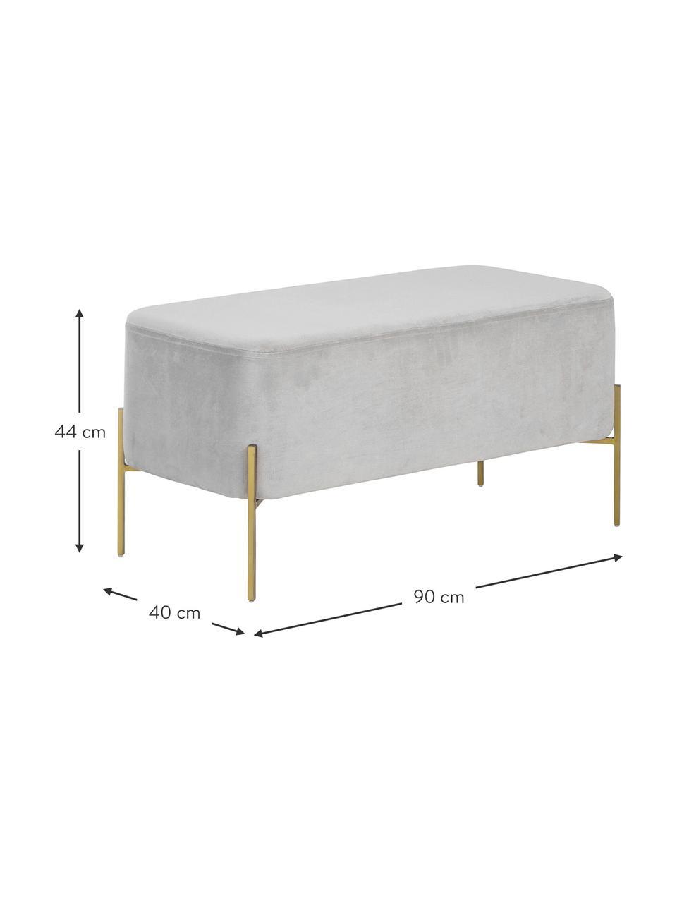 Samt-Polsterbank Harper, Bezug: Baumwollsamt, Fuß: Metall, pulverbeschichtet, Hellgrau, Goldfarben, 90 x 44 cm