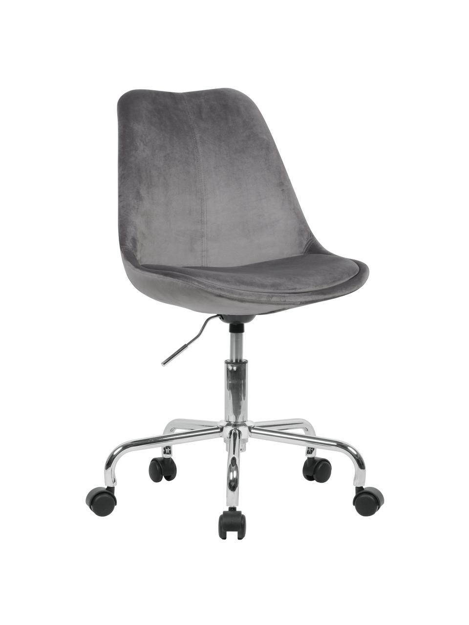 Fluwelen bureaustoel Lenka, in hoogte verstelbaar, Bekleding: fluweel, Frame: verchroomd metaal, Fluweel grijs, B 65 x D 56 cm
