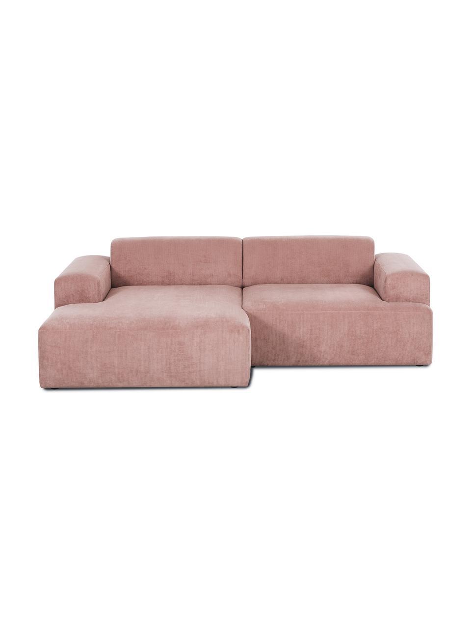 Cord-Ecksofa Melva (3-Sitzer) in Rosa, Bezug: Cord (92% Polyester, 8% P, Gestell: Massives Kiefernholz, Spa, Füße: Kiefernholz, Cord Rosa, B 240 x T 144 cm