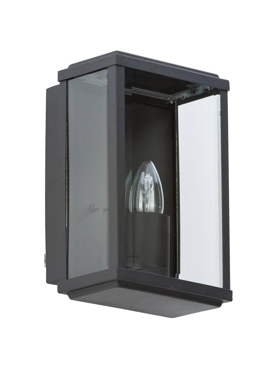 Außenwandleuchte Wally im Industrial-Style, Edelstahl, pulverbeschichtet mit Glas-Einsatz, Schwarz, Transparent, 16 x 25 cm