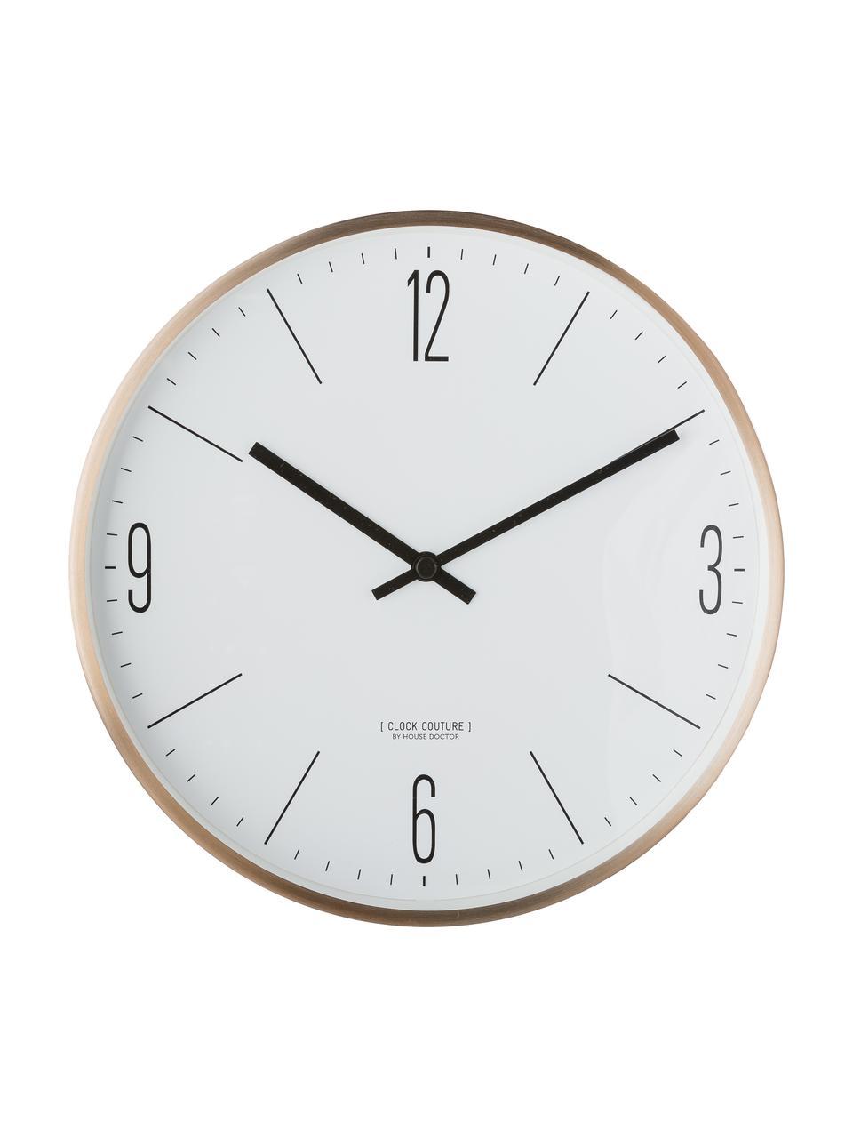 Wanduhr Couture, Aluminium, Gold,Weiß, Ø 30 cm