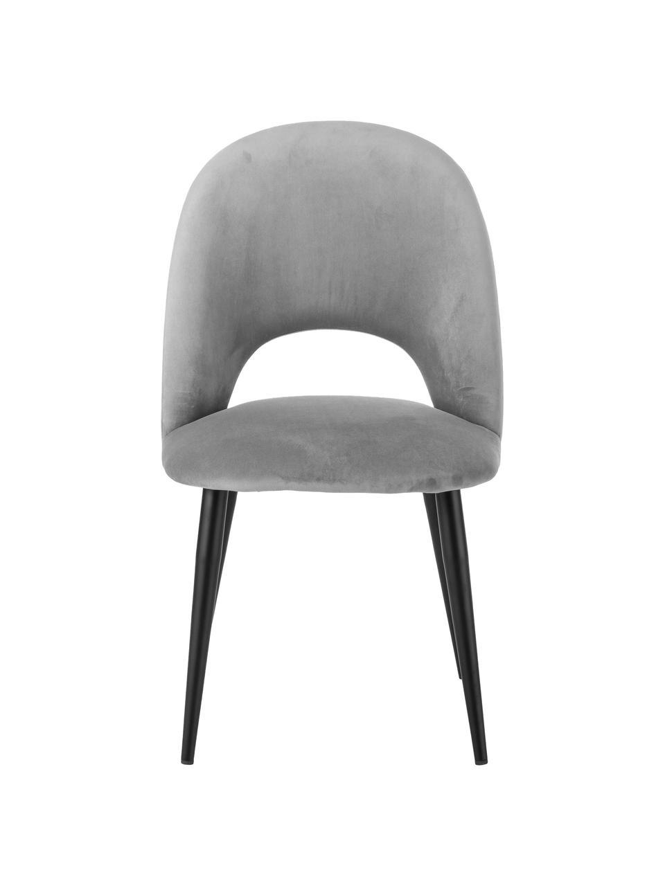 Fluwelen stoel Rachel, Bekleding: fluweel (hoogwaardige pol, Poten: gepoedercoat metaal, Fluweel grijs, B 53 x D 57 cm