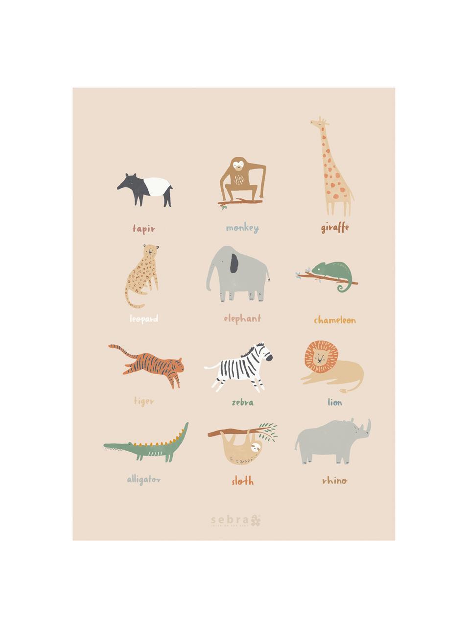 Poster Wildlife, Carta patinata, 250 g/m², Multicolore, Larg. 50 x Alt. 70 cm