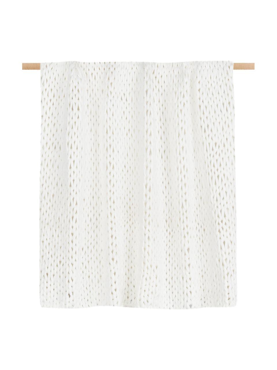 Plaid a maglia Adyna, 100% acrilico, Bianco, 150 x 200 cm