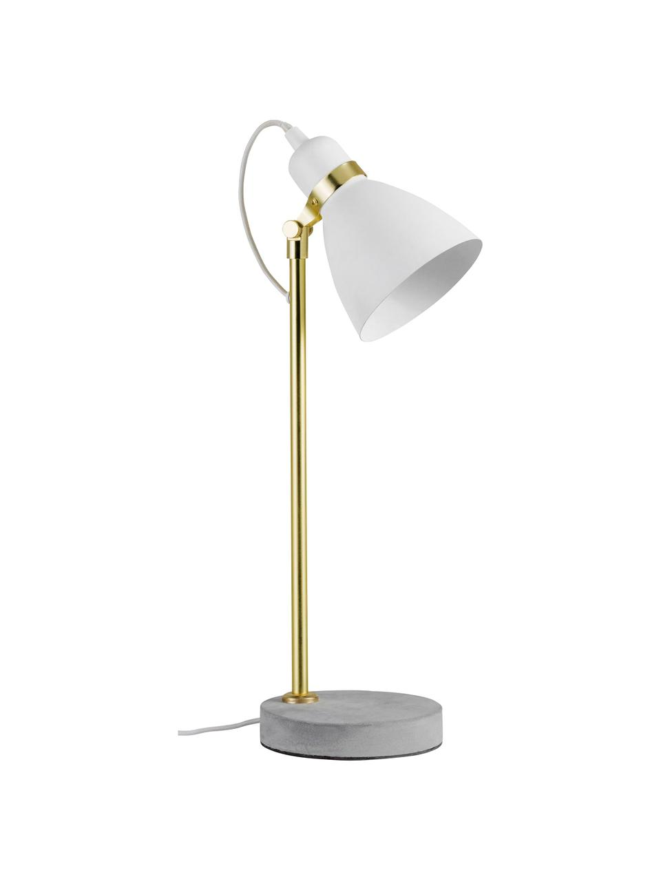 Grote tafellamp Orm met betonnen voet, Lampenkap: gecoat metaal, Lampvoet: beton, Wit, messingkleurig, grijs, Ø 15 x H 50 cm