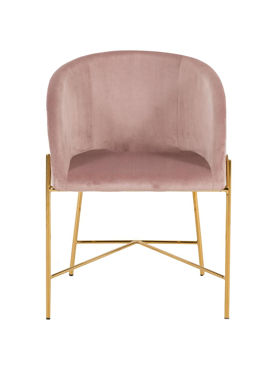 Sedia con braccioli in velluto Nelson, Rivestimento: velluto di poliestere Con, Gambe: metallo ottone placcato, Rosa cipria, Larg. 56 x Prof. 55 cm