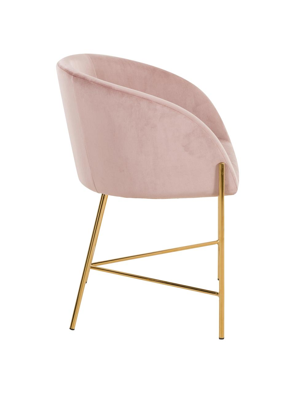 Chaise rembourrée velours Nelson, Vieux rose