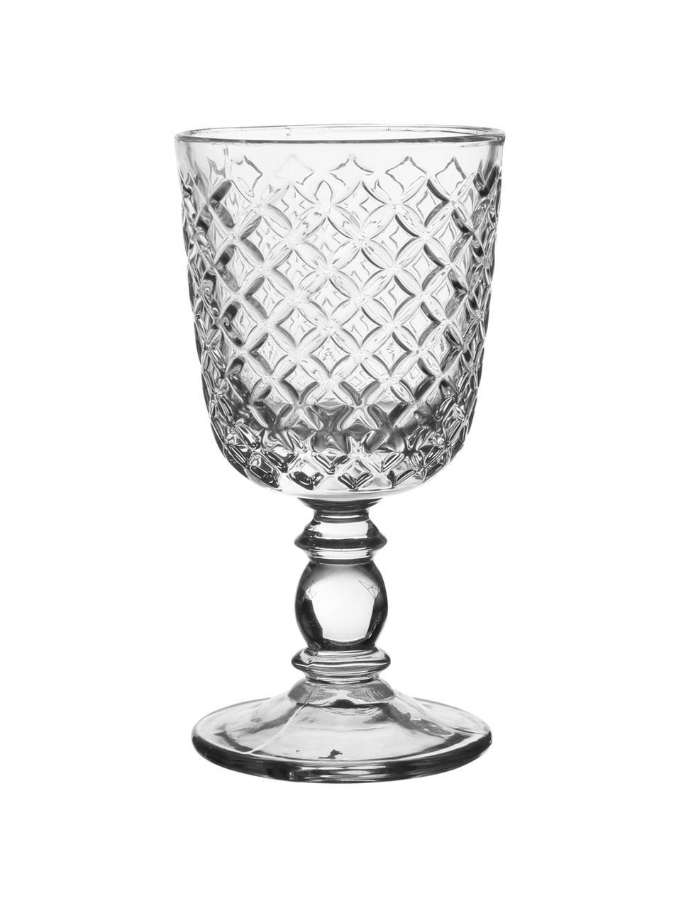 Weingläser Arlequin mit Relief im Landhausstil, 2er-Set, Glas, Transparent, 280 ml