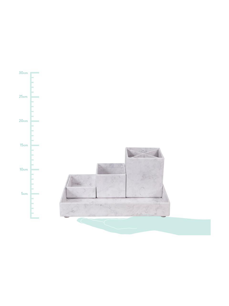 Büro-Organizer-Set Lena, 4-tlg., Fester, laminierter Karton, Weiß, marmoriert, Sondergrößen