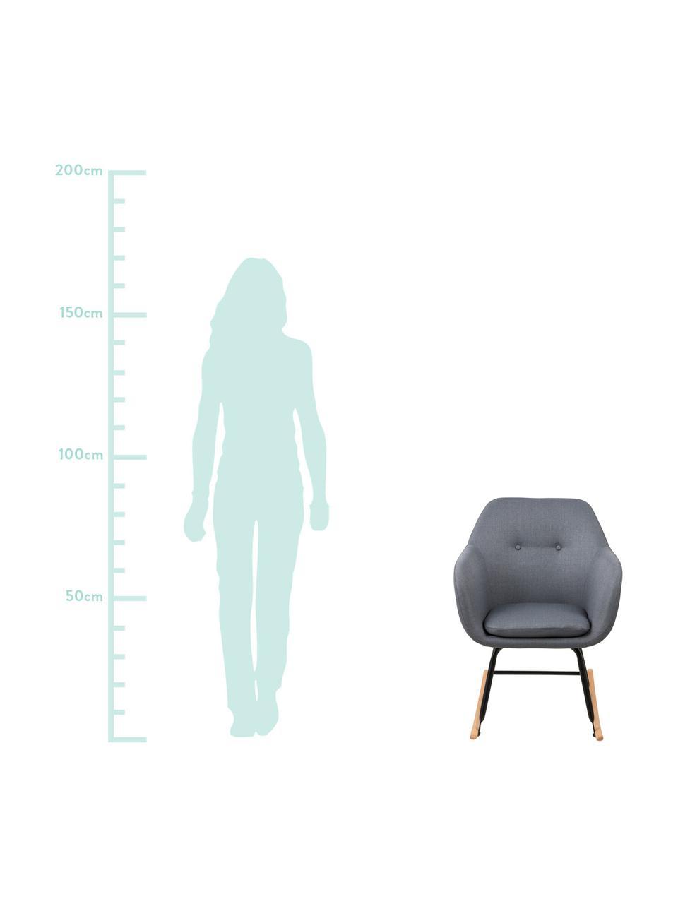 Schommelstoel Emilia, Bekleding: 90% polyester, 8% viscose, Poten: gepoedercoat metaal, Geweven stof donkergrijs, 57 x 69 cm