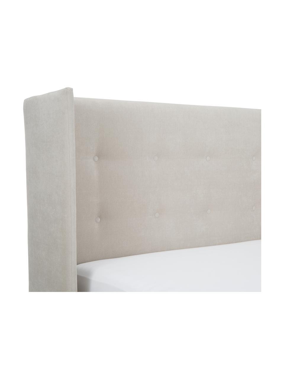 Letto imbottito in tessuto beige con contenitore Star, Rivestimento: Poliestere (tessuto strut, Tessuto beige, 180 x 200 cm