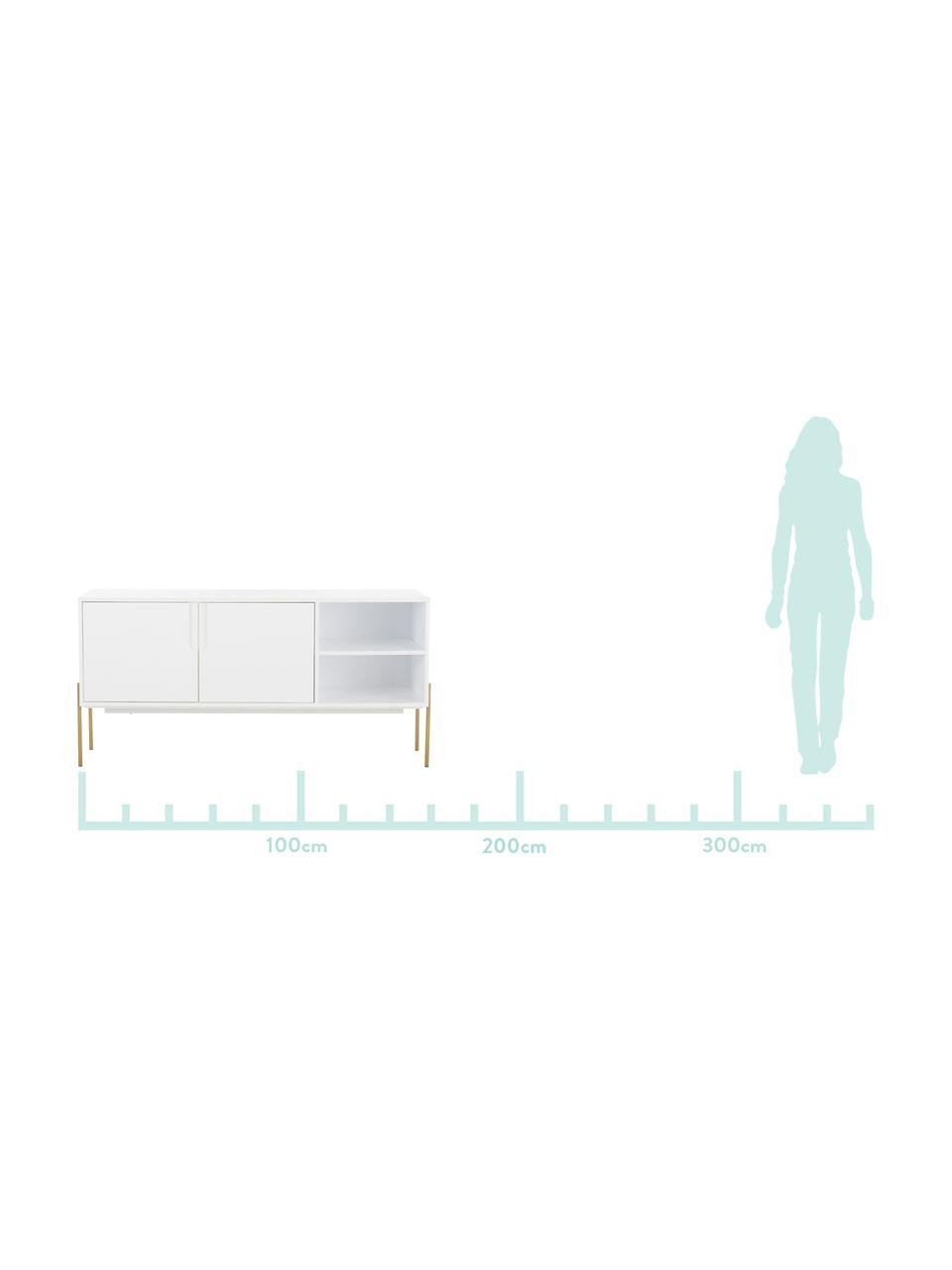 Skříňka Jesper, Konstrukce: bílá Nohy: lesklá zlatá