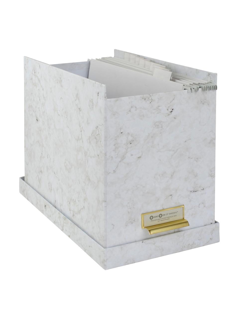 Set scatola-archivio per documenti Johan 9 pz, Organizer: solido, cartone laminato, Bianco marmorizzato, Larg. 19 x Alt. 27 cm