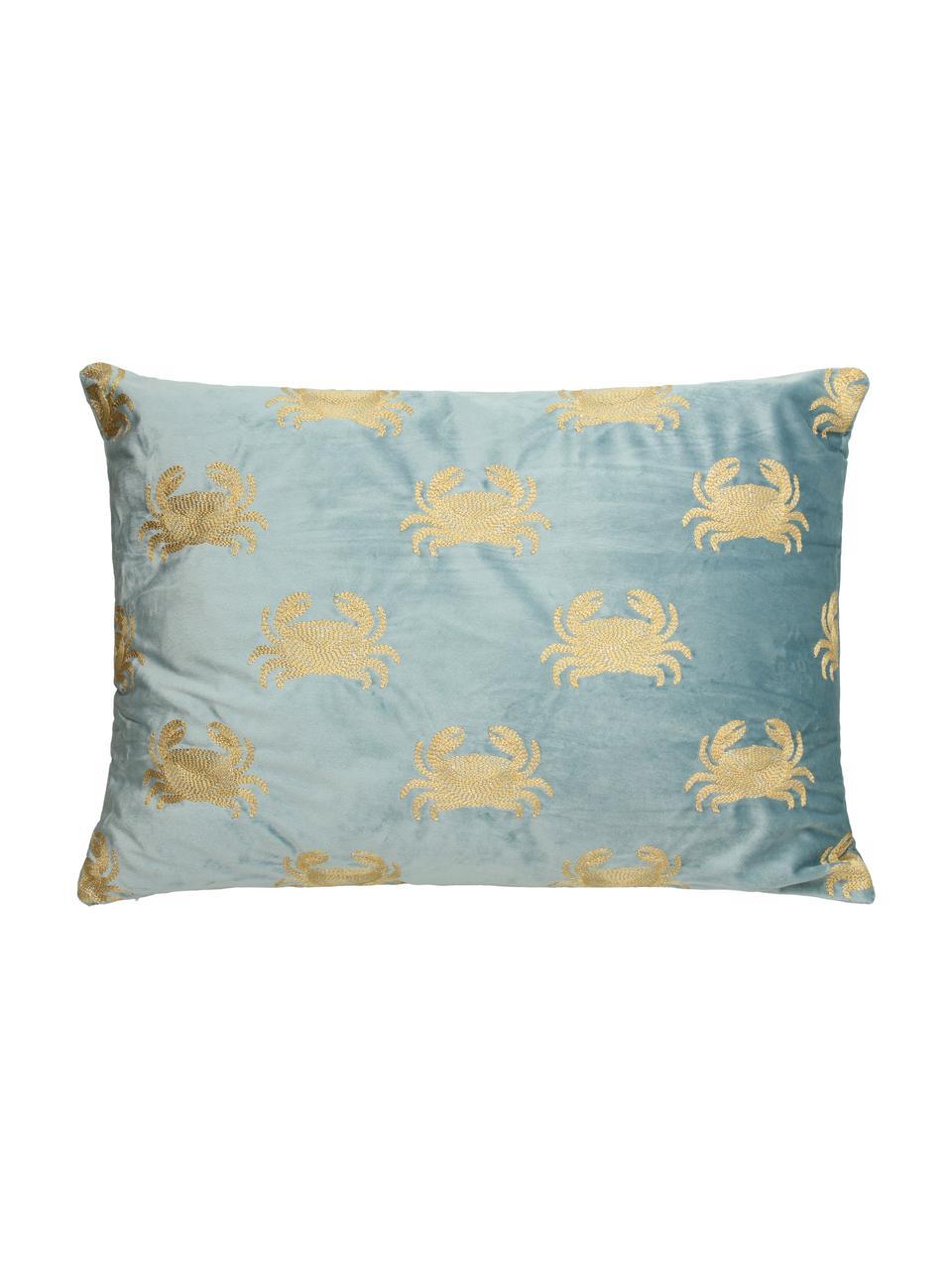 Besticktes Samt-Kissen Crab, mit Inlett, 100% Samt, Blau, Goldfarben, 40 x 60 cm