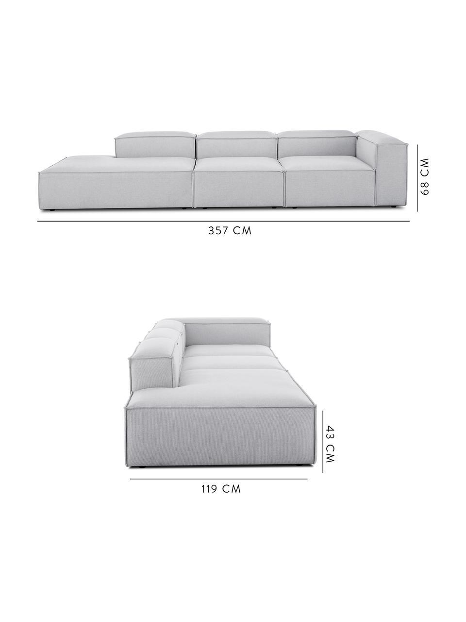 Canapé modulable XL dossier bas Lennon, Tissu gris clair