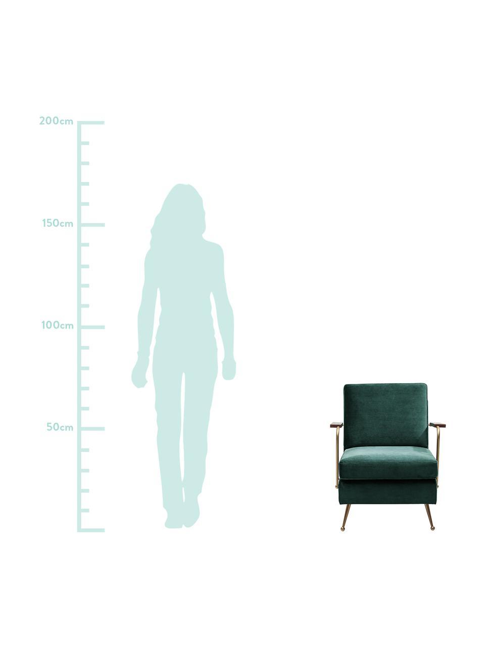 Sedia a poltrona in velluto Gamble, Velluto verde, Larg.. 68 x Prof. 75 cm