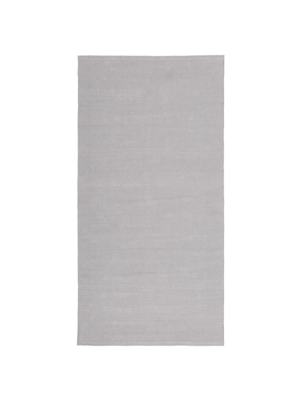 Dun handgeweven katoenen vloerkleed Agneta, 100% katoen, Grijs, B 200 x L 300 cm (maat L)