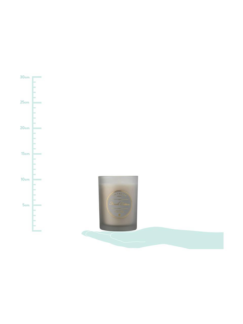 Geurkaars Sense (fris katoen), Houder: glas, Houder: grijs. Was: wit, Ø 9 x H 11 cm