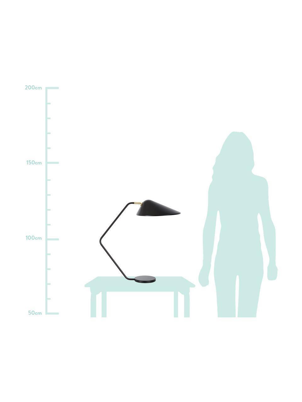 Große Schreibtischlampe Neron in Schwarz-Gold, Lampenschirm: Metall, pulverbeschichtet, Lampenfuß: Metall, pulverbeschichtet, Dekor: Metall, vermessingt, Black, 57 x 56 cm
