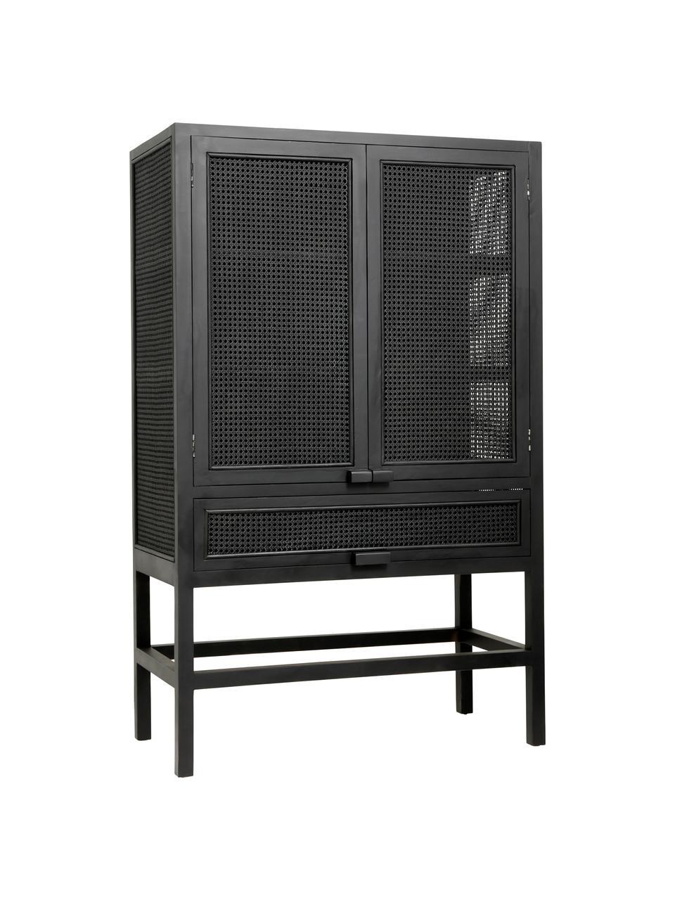 Dressoir Merge met Weens vlechtwerk in zwart, Frame: teakhout, gelakt, Zwart, 100 x 160 cm