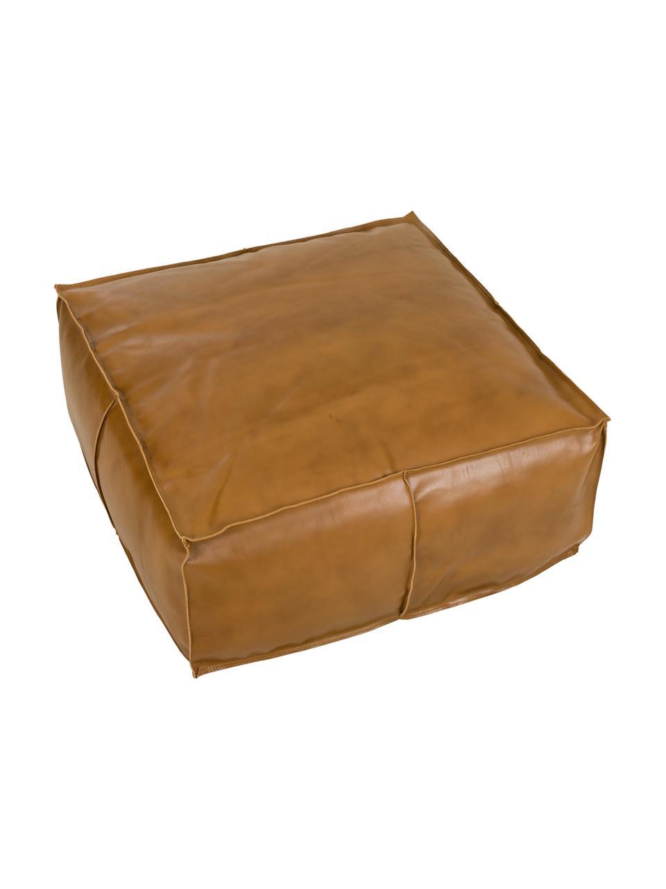 Großer Leder-Pouf Arabica, Bezug: Leder, Unterseite: Baumwolle, Cognac, 70 x 30 cm