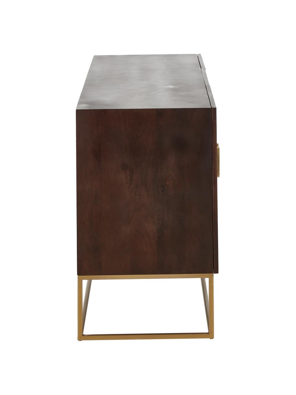 Credenza con ante in legno massello Lyle, Struttura e maniglie: metallo verniciato a polv, Legno di mango scuro, verniciato, Larg. 150 x Alt. 72 cm