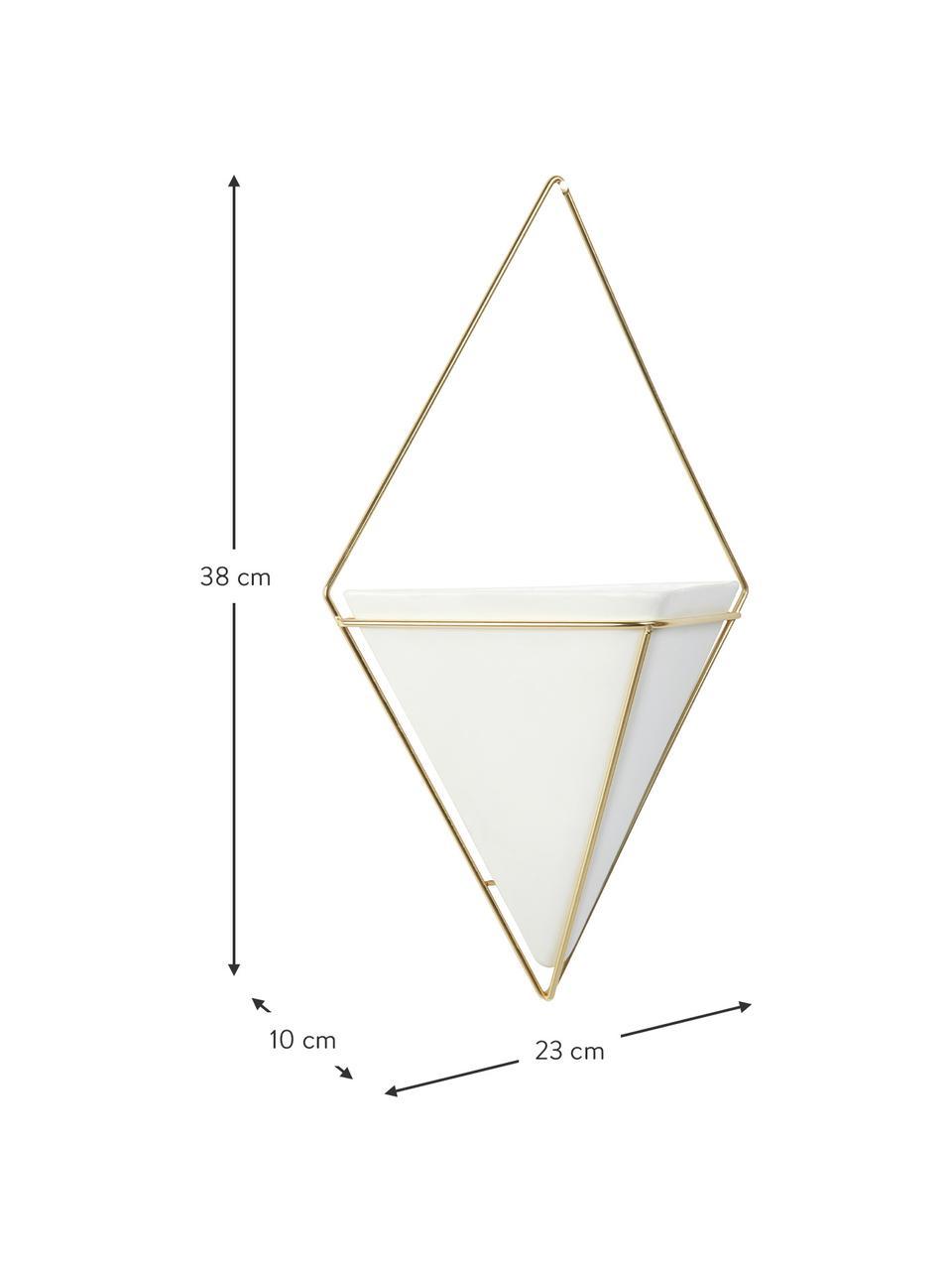 Wandaufbewahrungs-Schale Trigg aus Keramik, Aufbewahrung: Keramik, Weiss, Messing, matt, 23 x 38 cm