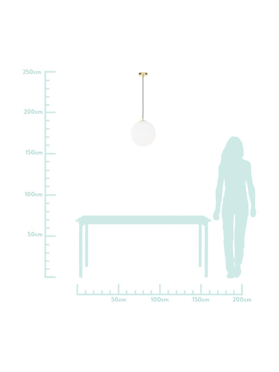 Pendelleuchte Beth aus Opalglas, Lampenschirm: Opalglas, Baldachin: Metall, vermessingt, Dekor: Metall, vermessingt, Weiß, Messing, Ø 30 cm