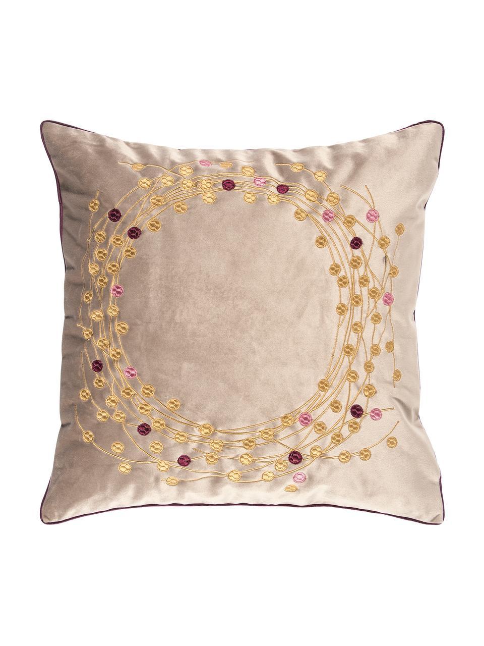 Samt-Kissenhülle Circle mit besticktem winterlichem Motiv, Polyestersamt, Sandfarben, Goldfarben, 45 x 45 cm