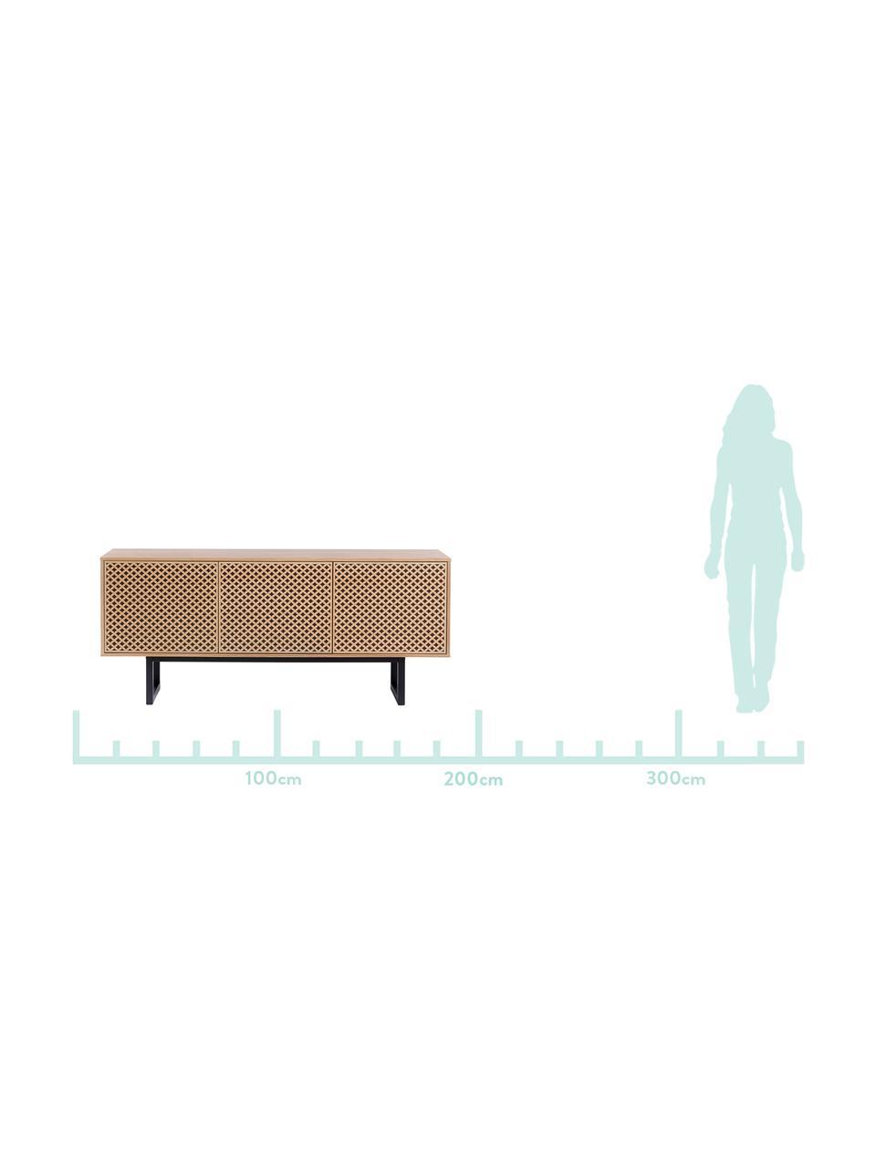 Sideboard Camden mit Türen und Eichenholzfurnier, Korpus: Mitteldichte Holzfaserpla, Füße: Birkenholz, lackiert, Eichenholz, 175 x 75 cm