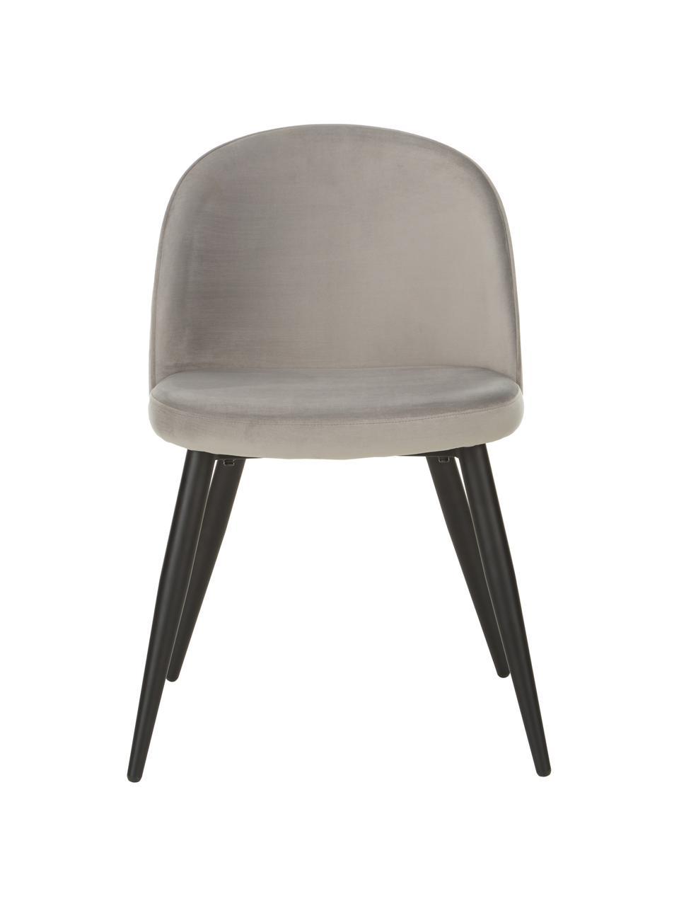 Moderne Samt-Polsterstühle Amy, 2 Stück, Bezug: Samt (Polyester) Der hoch, Beine: Metall, pulverbeschichtet, Grau, B 51 x T 55 cm