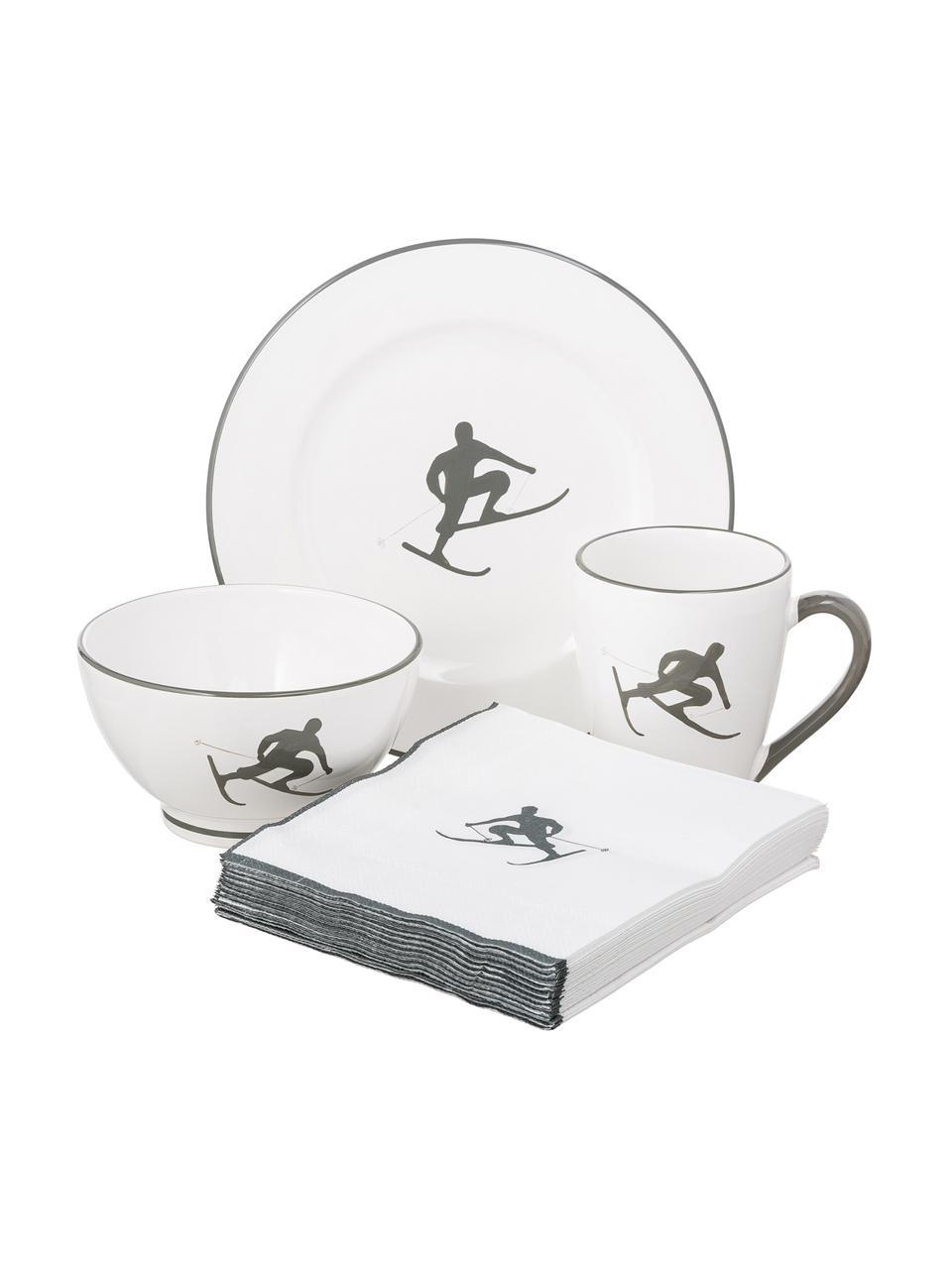 Ręcznie malowany serwis śniadaniowy Toni, 4 elem., Ceramika, Szary, biały, Komplet z różnymi rozmiarami