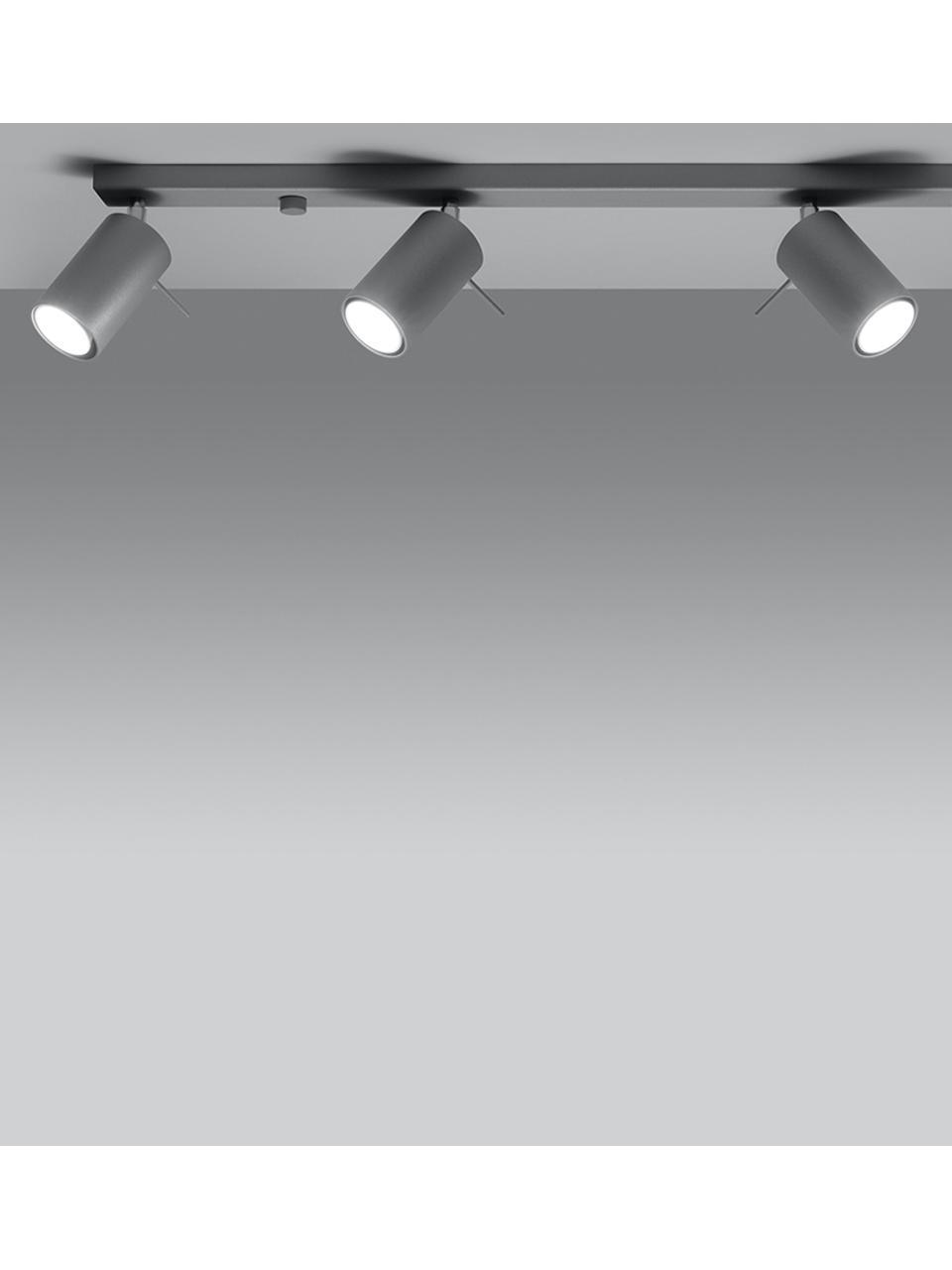 Deckenstrahler Etna in Grau, Baldachin: Stahl, lackiert, Grau, 80 x 15 cm