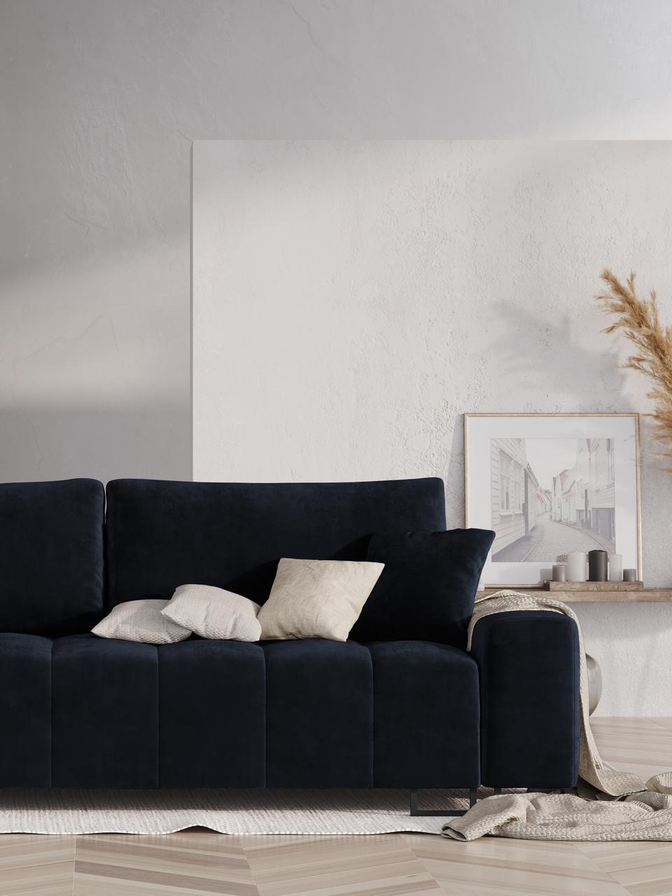 Sofa rozkładana z aksamitu Byron (3-osobowa), Tapicerka: aksamit poliestrowy Dzięk, Nogi: metal lakierowany, Ciemnyniebieski, S 250 x G 105 cm