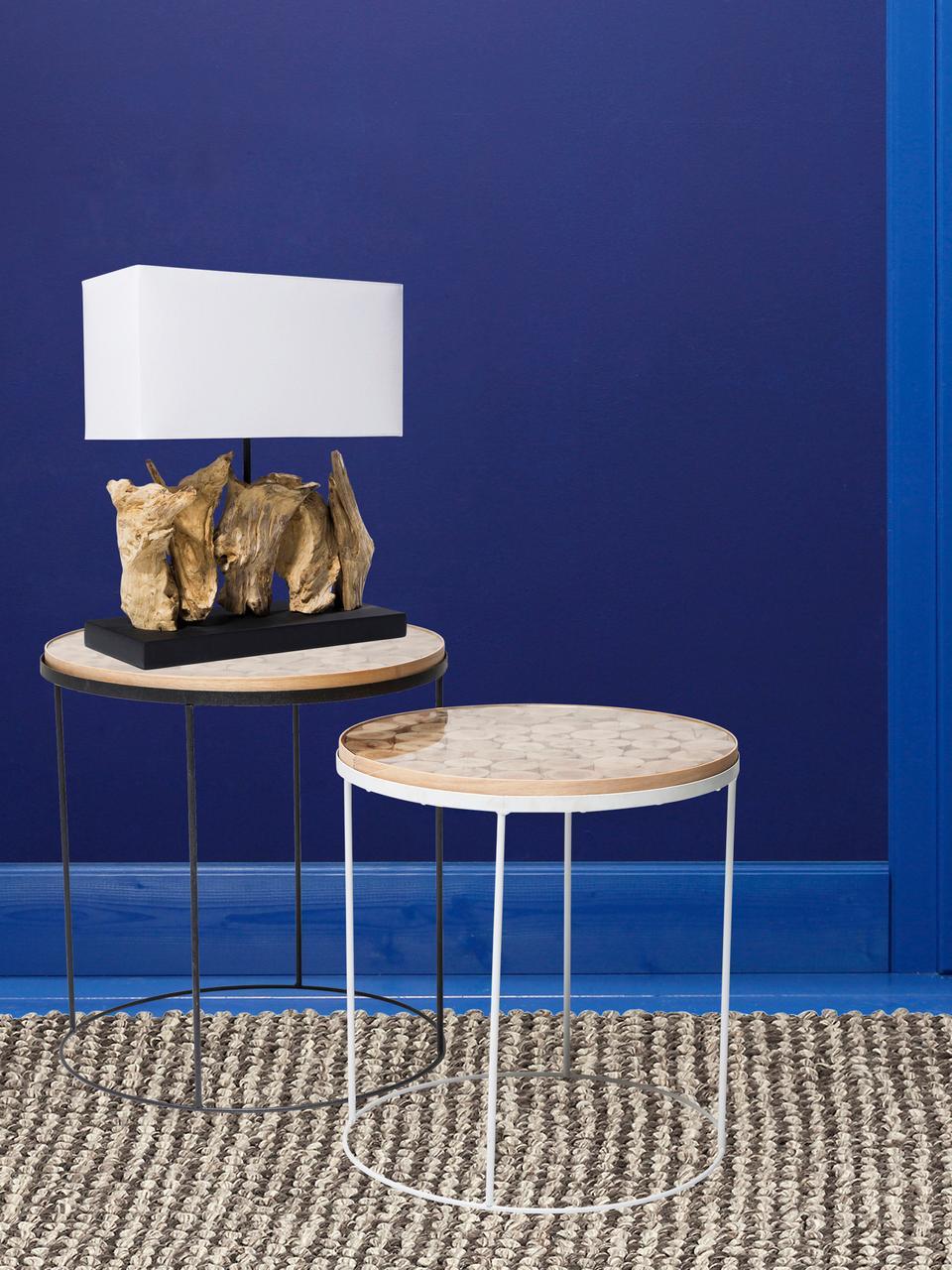 Design Tischlampe Nature aus Treibholz, Lampenschirm: Baumwolle, Lampenfuß: Treibholz, Sockel: Spanplatte, gebeizt und l, Weiß, Braun, 35 x 43 cm