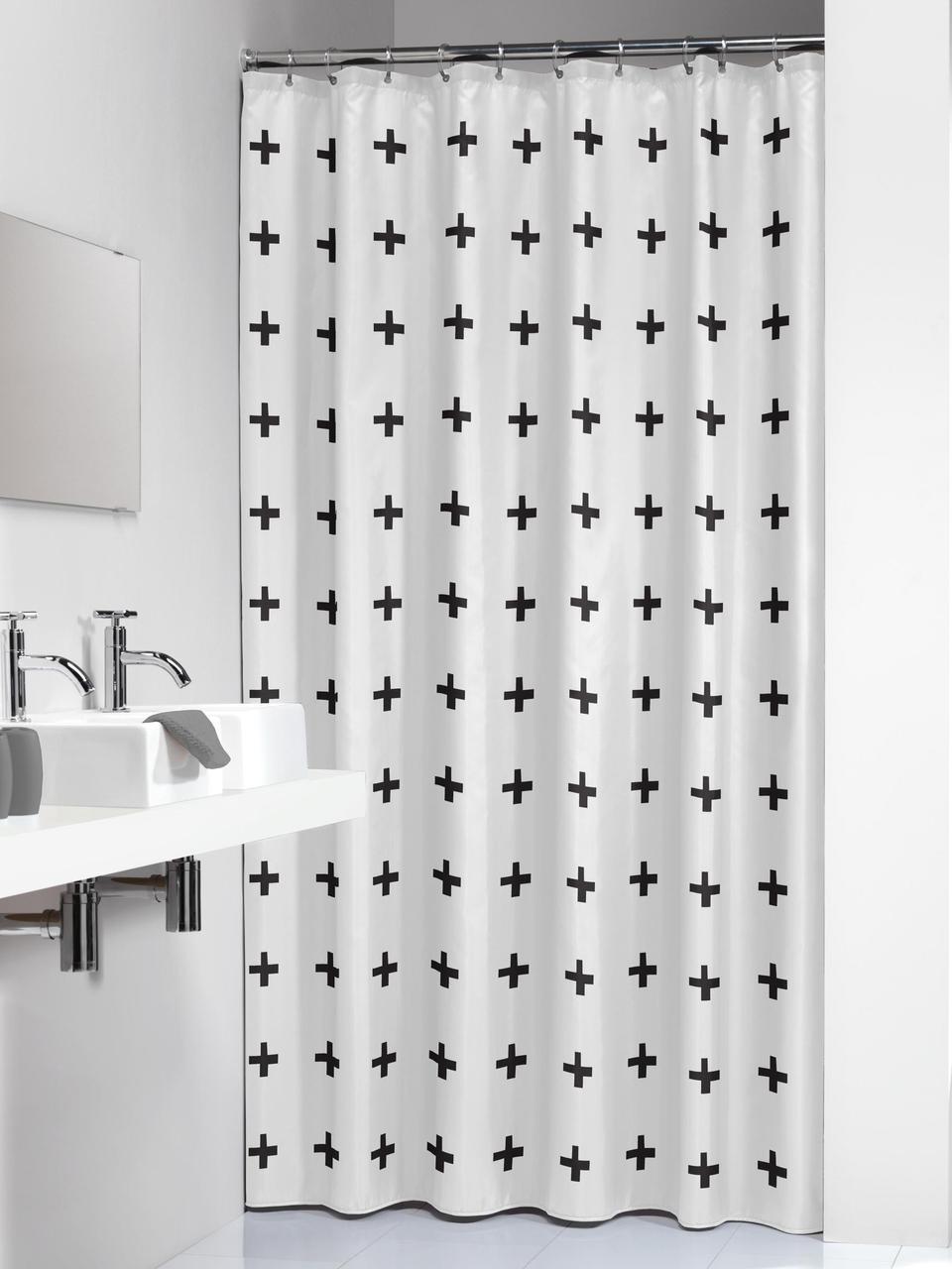 Tenda da doccia a fantasia Kenzie, Bianco, nero, Larg. 180 x Lung. 200 cm