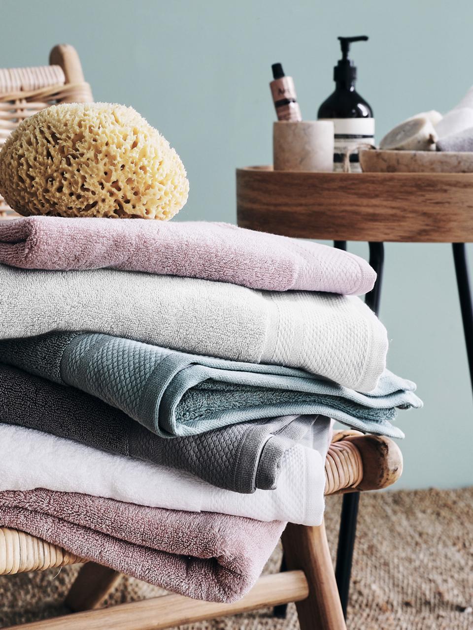 Asciugamano con bordo decorativo Premium, diverse misure, Grigio chiaro, Asciugamano per ospiti Larg. 30 x Lung. 30 cm
