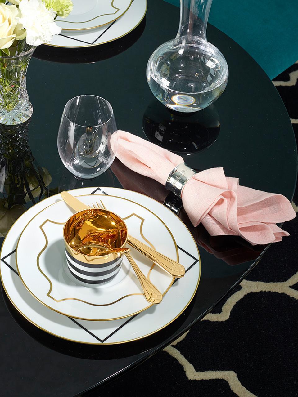 Vergoldeter Champagnerbecher Sip of Gold aus Porzellan, Rand: Vergoldet, Schwarz, Weiß, Gold, 300 ml