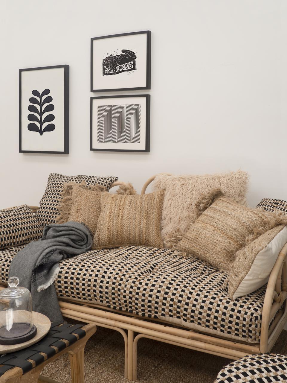 Federa arredo in cotone/juta Fiesta, Retro: 100% cotone, Nero, beige, Larg. 30 x Lung. 60 cm