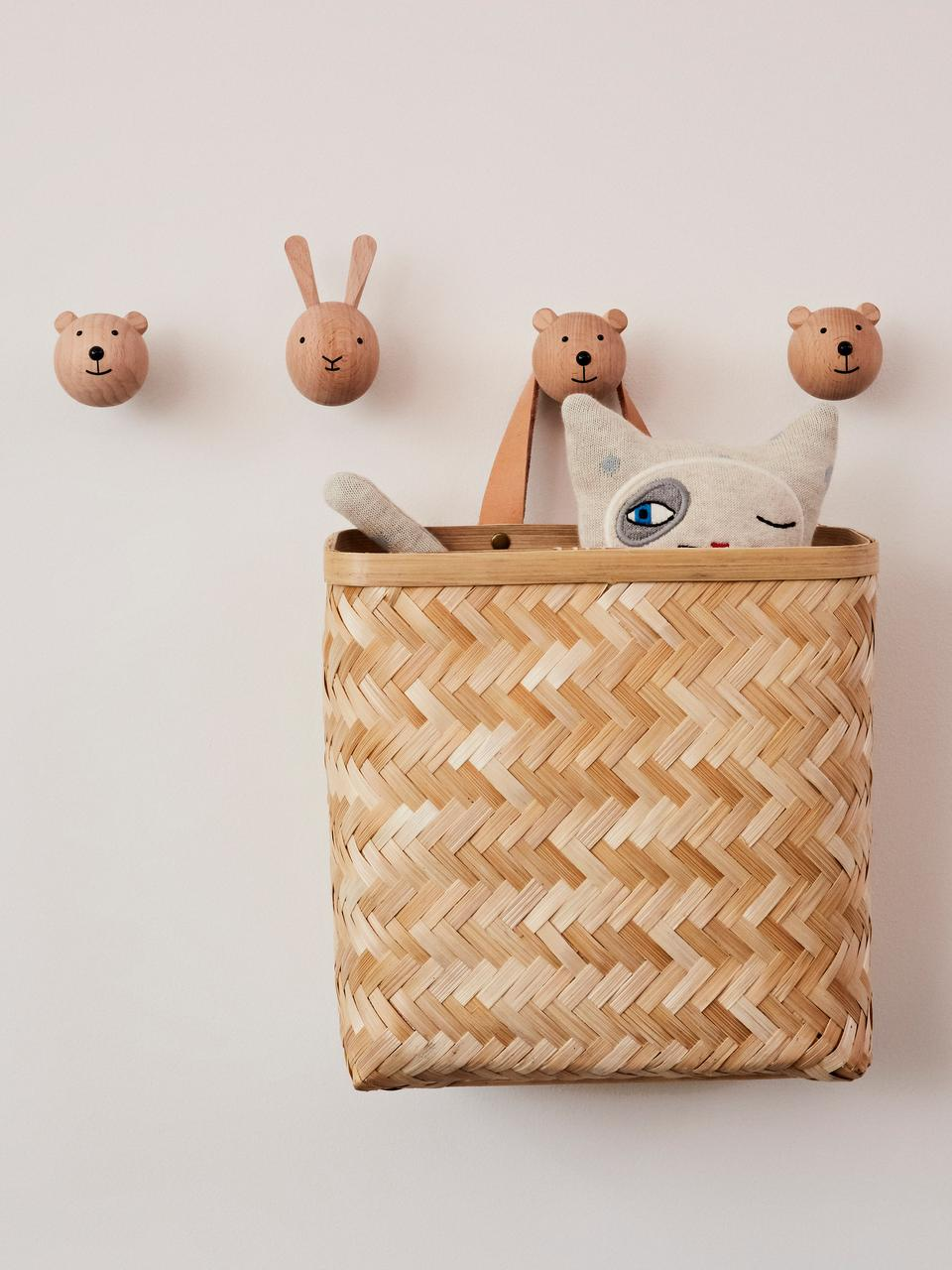 Wandhaken Bear aus Buchenholz, Buchenholz, Holz, Schwarz, 5 x 5 cm