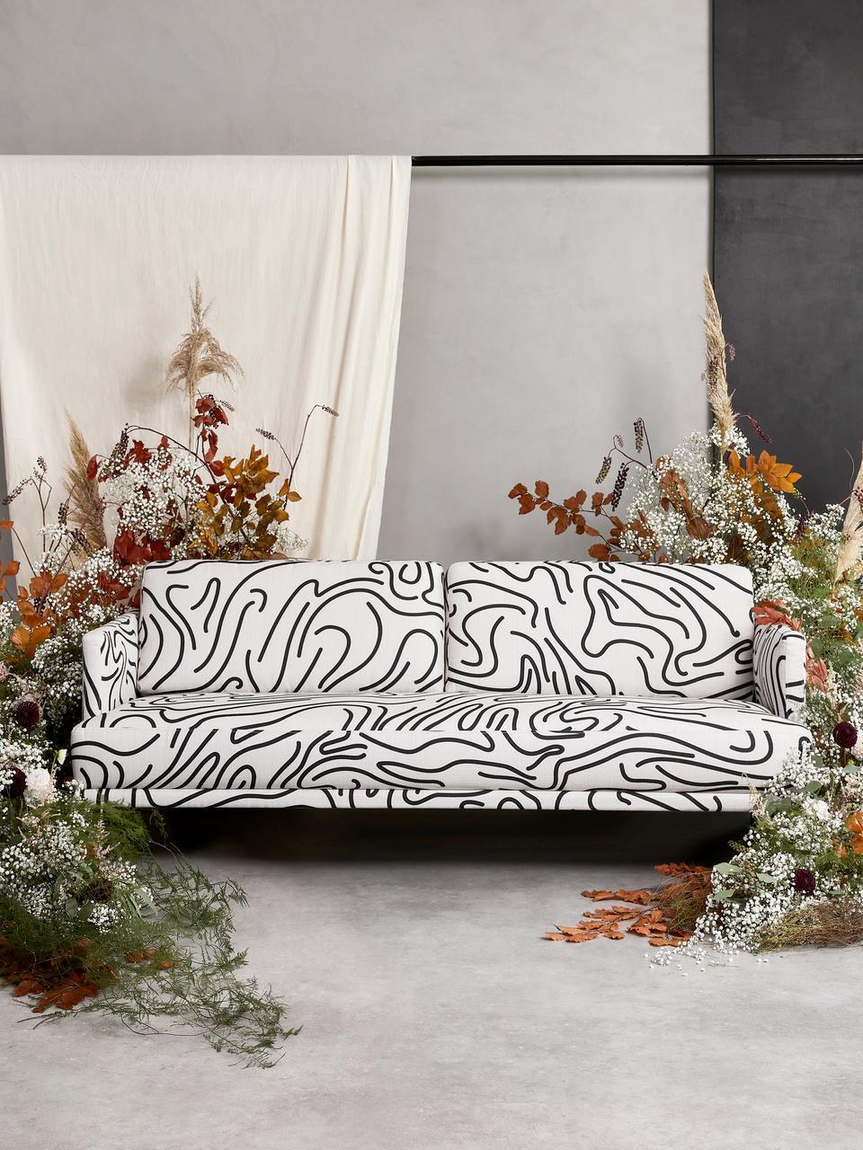 Canapé 3places tissu noir et blanc Fluente, Tissu blanc