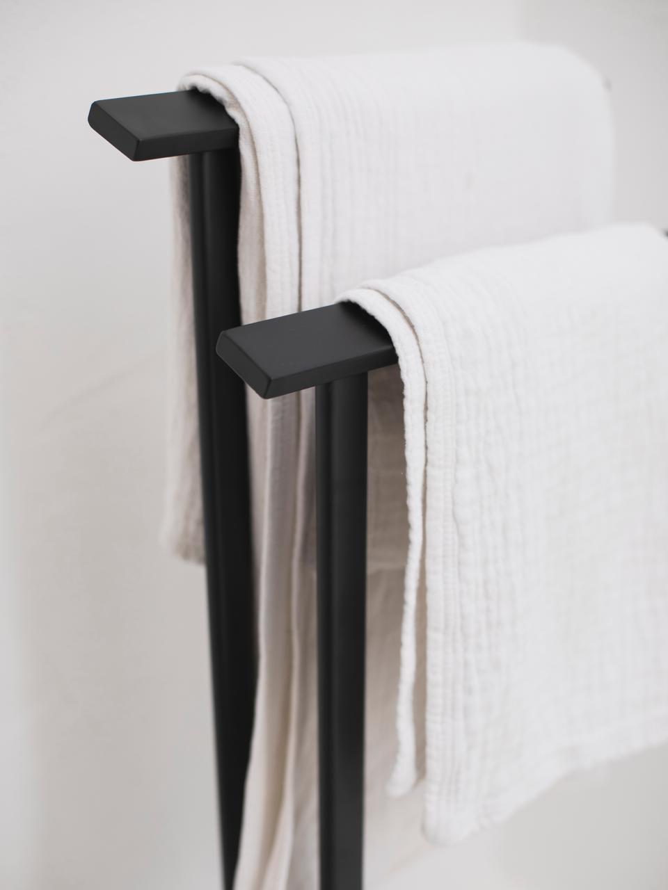 Handtuchhalter Bleech, Metall, beschichtet, Schwarz, 33 x 83 cm