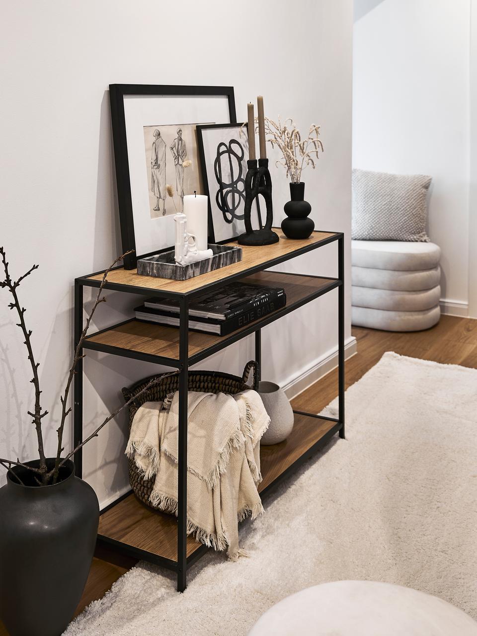 Console en bois et métal Seaford, Tablettes: chêne sauvage Structure: noir