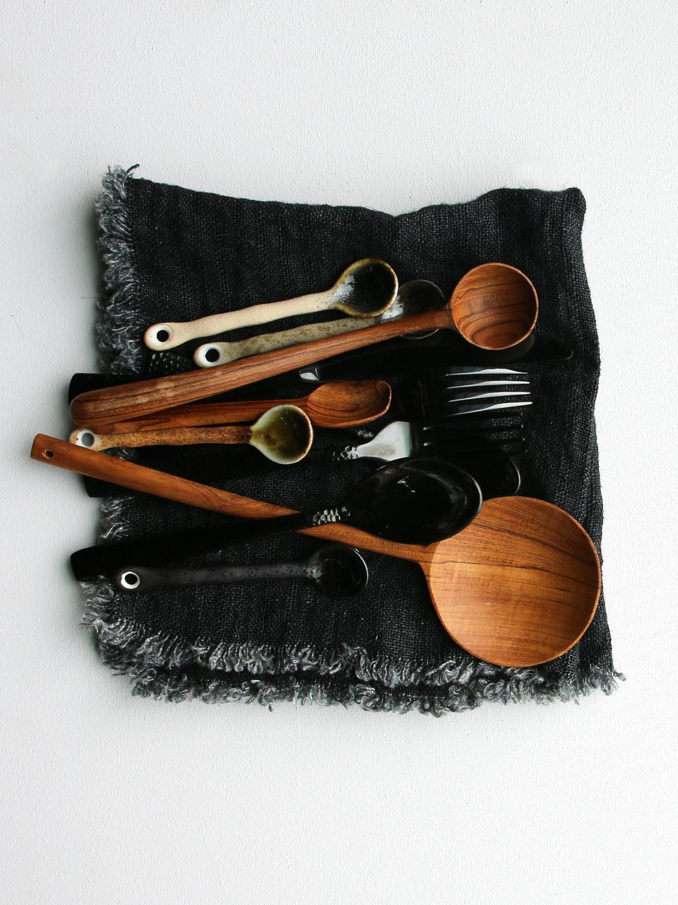 Set 4 cucchiaini in stile giapponese Yunomi, Gres, Multicolore, Lung. 12 cm
