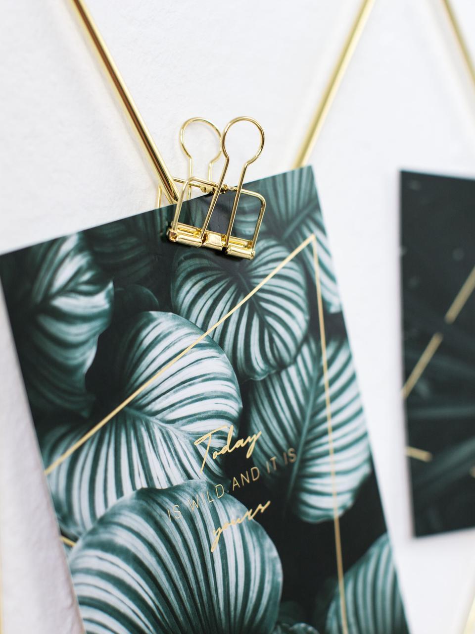 Foldbackklammern Lanika, 6 Stück, Metall, lackiert, Messingfarben, 3 x 4 cm