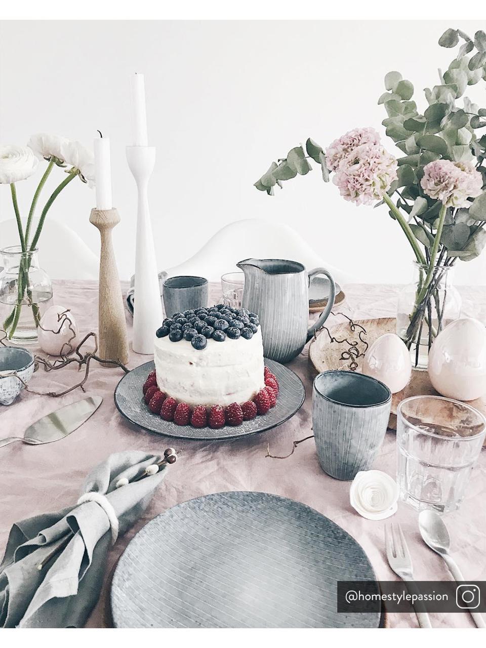 Assiettes à dessert faites à la main Nordic Sea, 4pièces, Tons gris et bleus